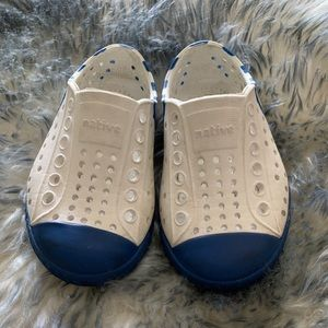 White & Navy Native Shoes